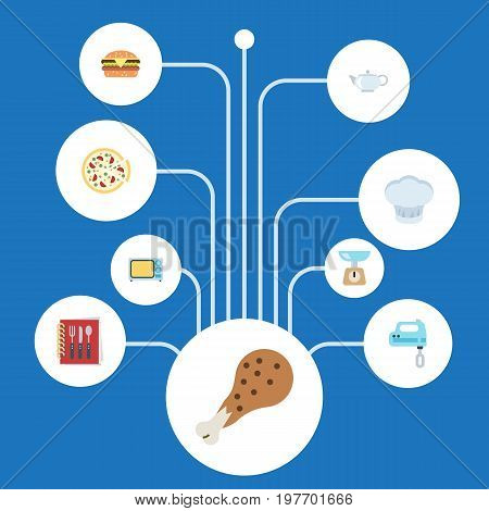 Flat Icons Fried Poultry, Pepperoni, Teapot And Other Vector Elements