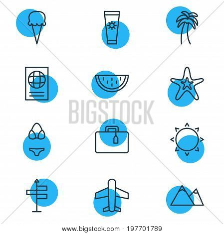 Editable Pack Of Guide, Sunny, Certificate And Other Elements.  Vector Illustration Of 12 Summer Icons.