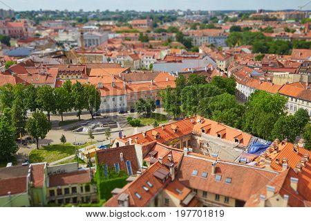Panorama Of Vilnius With Tilt Shift Lens Effect