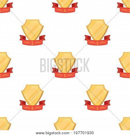 Golden award with red ribbon.The medal of valor.Awards and trophies single icon in cartoon style vector symbol stock web illustration.