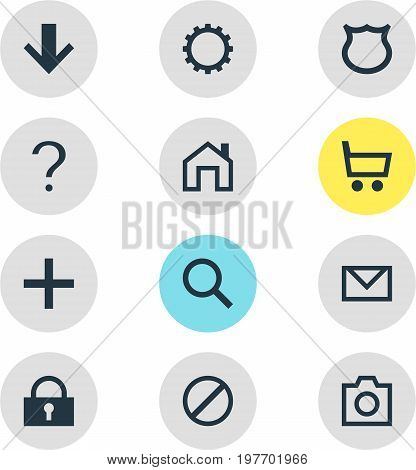 Editable Pack Of Plus, Snapshot, Shield And Other Elements.  Vector Illustration Of 12 Interface Icons.