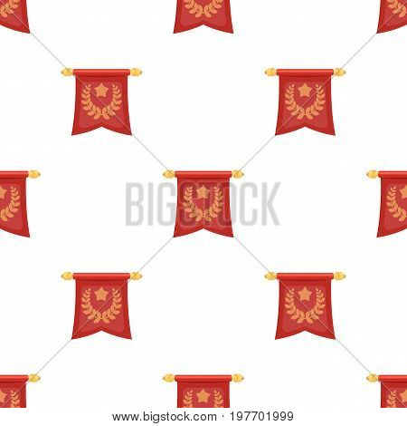 A red flag on a gold pole with the emblem of the first Olympics.Awards and trophies single icon in cartoon style vector symbol stock web illustration.