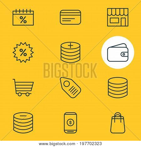 Editable Pack Of Minus, Pocketbook, Money And Other Elements.  Vector Illustration Of 12 Wholesale Icons.