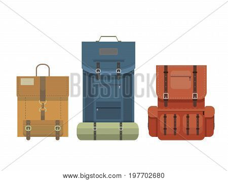 Colorful camping retro backpack set in flat design isolated on white background. Tourist retro back packs. Classic styled hiking backpacks with sleeping bags.