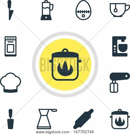Editable Pack Of Chef Hat, Breakfast, Stewpot And Other Elements.  Vector Illustration Of 12 Kitchenware Icons.