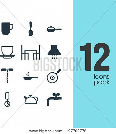 Editable Pack Of Skillet, Coffee Cup, Extractor Appliance And Other Elements.  Vector Illustration Of 12 Restaurant Icons.