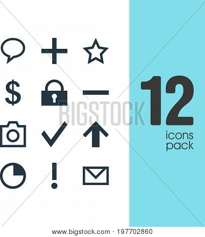 Editable Pack Of Plus, Snapshot, Padlock And Other Elements.  Vector Illustration Of 12 Interface Icons.