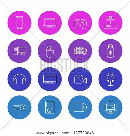 Editable Pack Of Camcorder, Media Controller, PC And Other Elements.  Vector Illustration Of 16 Accessory Icons.