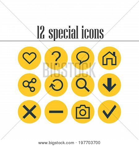 Editable Pack Of Confirm, Mainpage, Renovate And Other Elements.  Vector Illustration Of 12 Member Icons.