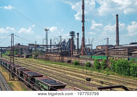 View of access railway tracks leading to steelmaking enterprise blast furnace smelter