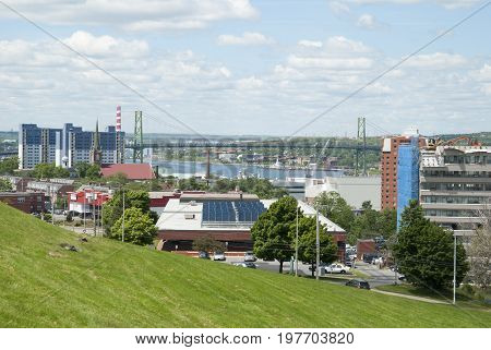 The view from the hill of Halifax downtown area with Angus L.Macdonald Bridge in a background (Nova Scotia Canada).