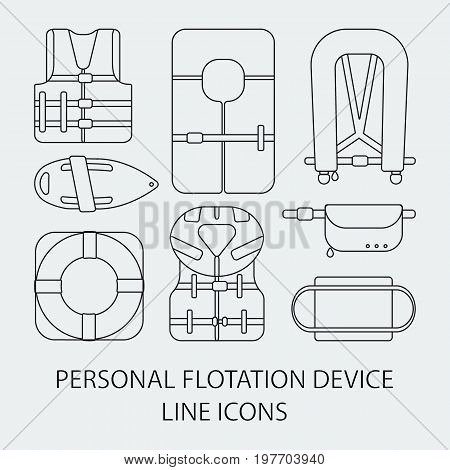 Thin line icon set - Life jackets types vector flat icons big set of outline design different types of floatation devices isolated on the white background vector illustration