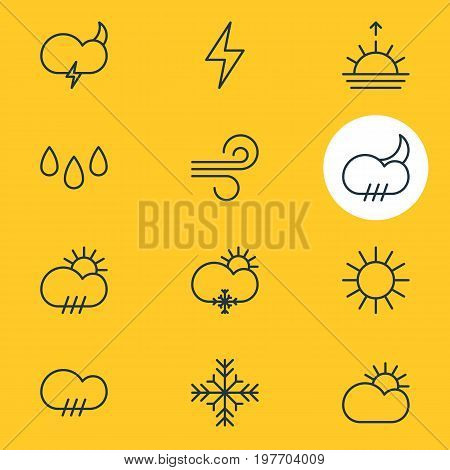 Editable Pack Of Sunny, Drip, Sun And Other Elements.  Vector Illustration Of 12 Weather Icons.