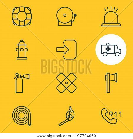 Editable Pack Of Alarm, Hosepipe, Hotline And Other Elements.  Vector Illustration Of 12 Necessity Icons.