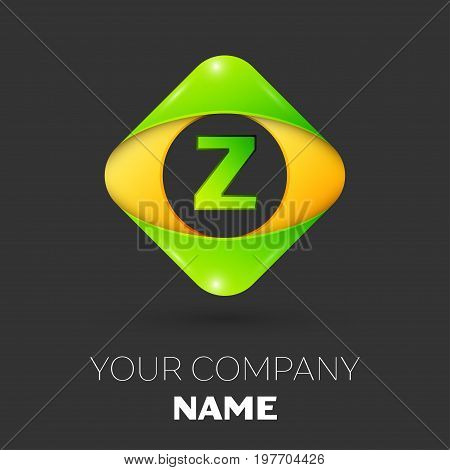 Realistic Letter Z vector logo symbol in the colorful rhombus on black background. Vector template for your design