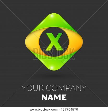 Realistic Letter X vector logo symbol in the colorful rhombus on black background. Vector template for your design
