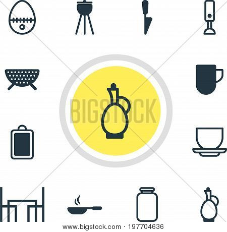 Editable Pack Of Breakfast, Carafe, Can And Other Elements.  Vector Illustration Of 12 Cooking Icons.