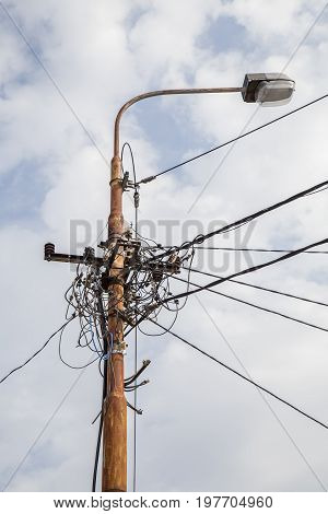 Street Lighting With Power Distribution Wires