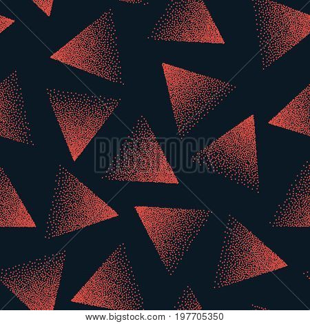 Vector Abstract Stippled Seamless Pattern. 80s and 90s Years Retro Style. Handmade Tileable Geometric Structure. Dotted Grunge Background