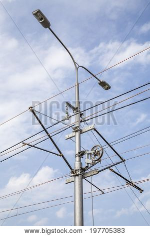 Tramway Line Pole With Overhead Lines