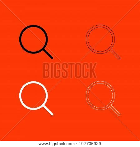 Magnifying Glass Or Loupe Black And White Set Icon .