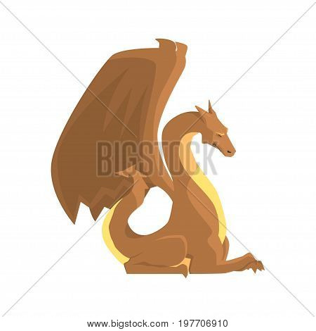 Brown dragon guard, mythical and fantastic animal vector Illustration on a white background