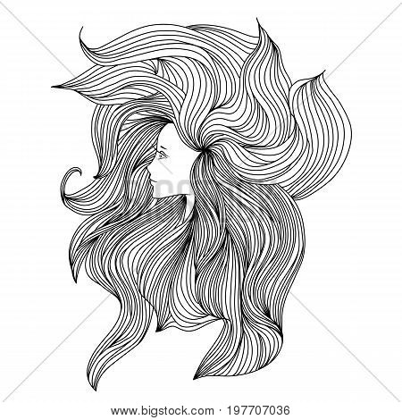Girl with long beautiful hair. Vector illustration. Black and white sketch