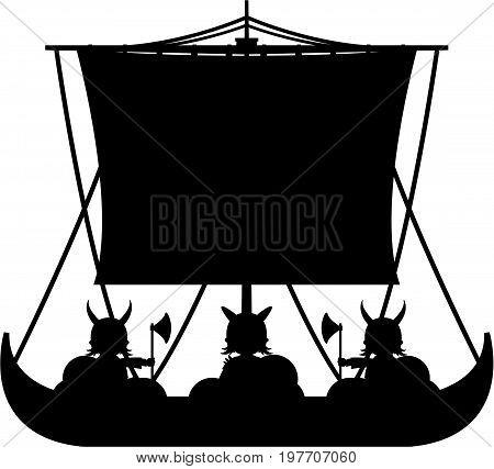Cartoon Norse Viking Warrior in Longboat Illustration