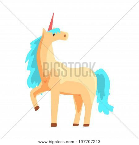 Magical unicorn horse with turquoise mane, mythical and fantastic animal vector Illustration on a white background
