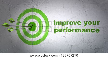 Success Studying concept: arrows hitting the center of target, Green Improve Your Performance on wall background, 3D rendering