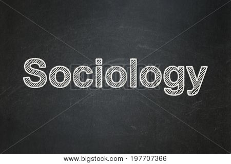 Studying concept: text Sociology on Black chalkboard background