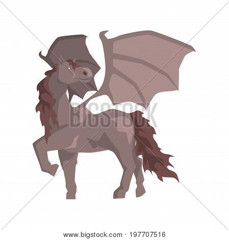 Pegasus winged horse, mythical and fantastic animal vector Illustration on a white background