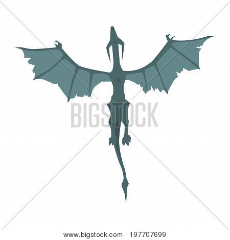 Flying dragon wyvern, mythical and fantastic animal vector Illustration on a white background