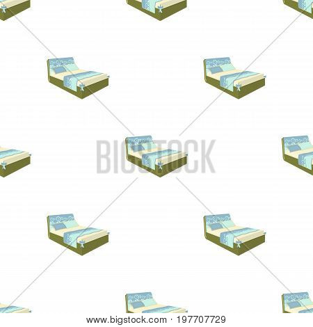 A bed with a back, pillows and a coverlet. Beds single icon in cartoon style vector symbol stock illustration .