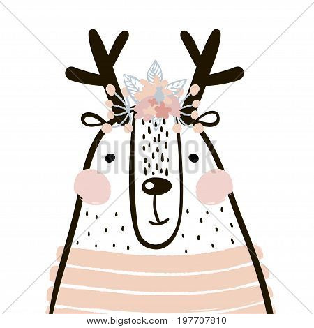 Cute cartoon dear girl in scandinavian style. Childish print for nursery kids apparelposter postcard. Vector Illustration