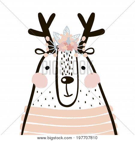 Cute cartoon dear girl in scandinavian style. Childish print for nursery kids apparelposter postcard. Vector Illustration