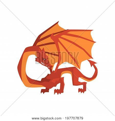 Orange and red dragon, mythical and fantastic animal vector Illustration on a white background