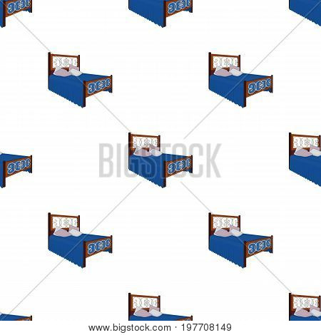 A bed with backs, pillows and a coverlet. Beds single icon in cartoon style vector symbol stock illustration .