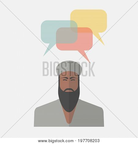 Arab man with colorful dialog speech bubbles Vector sign for web graphics.