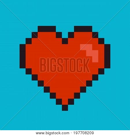 Heart Pixel Art Style. Heart love romantic pixel passion symbol icon design. Vector stock.