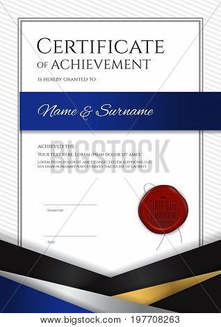 Portrait luxury certificate template with elegant border frame Diploma design for graduation or completion