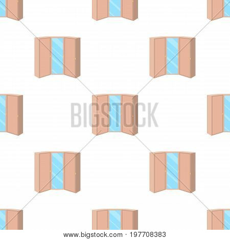 Pink wardrobe with two doors and a mirror.Bedroom wardrobe.Bedroom furniture single icon in cartoon style vector symbol stock web illustration.