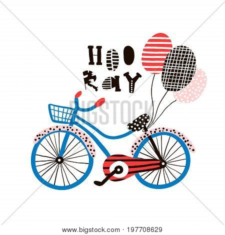 Hooray greeting background with creative bike and balloons. Vector Illustration