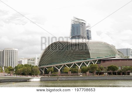 Singapore May 10 2017 : Esplanade building in Singapore background