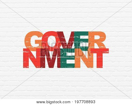 Political concept: Painted multicolor text Government on White Brick wall background