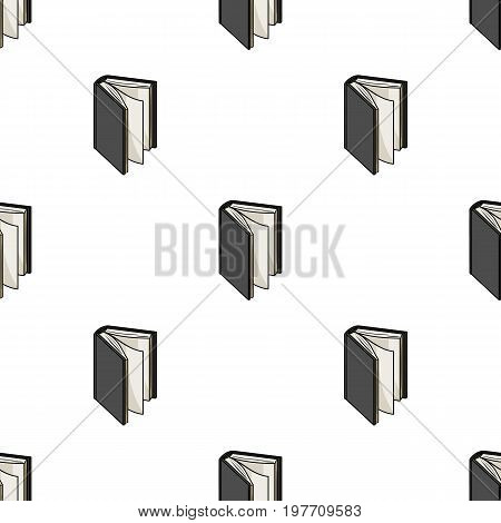 Black standing book icon in cartoon design isolated on white background. Books symbol stock vector illustration.
