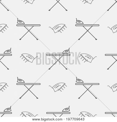 Iron board and iron. Seamless pattern background