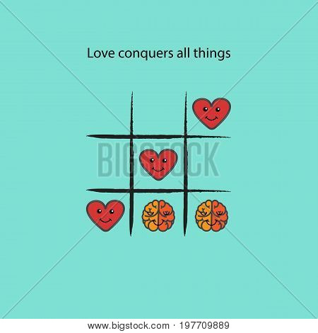 Simple game - X-O game.Tic-tac-toe elements.Love conquers all things concept.Vector illustration