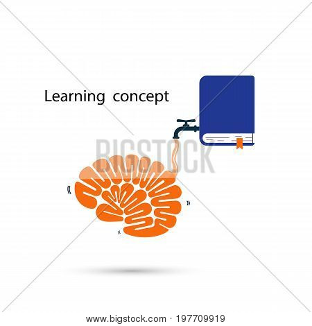 Brains icon and the textbook symbol with Learning and Knowledge filling concept.Thinking process brain and quick learning concept.Vector illustration.