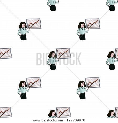 Businesswoman and growing graphic icon in cartoon design isolated on white background. Conference and negetiations symbol stock vector illustration.